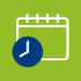 calendar behind clock icon